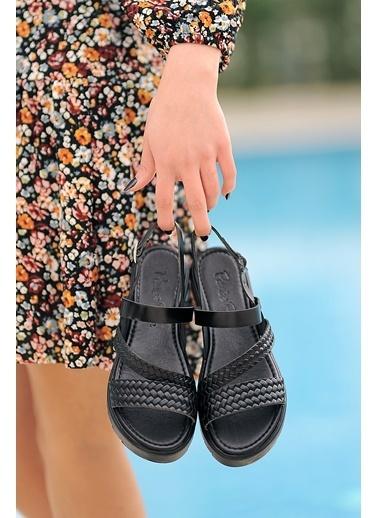 Pembe Potin A329-20 Kadın sandalet Siyah